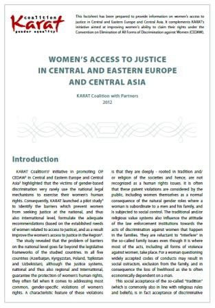 Infosheet: Women's access to justice in Central and Eastern Europe and Central Asia (Also in Russian).
